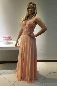 Best Selling Scoop Sleeveless Chiffon With Train Sweep Train Zipper 15th Birthday Dress in Peach with Beading and Lace