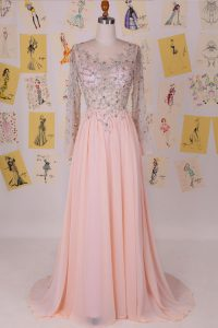 Glittering Scoop Pink Long Sleeves Chiffon Brush Train Zipper 15th Birthday Dress for Prom and Party