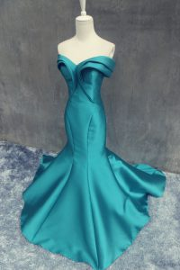 Discount Mermaid Sweetheart Sleeveless Brush Train Zipper Sweet 16 Quinceanera Dress Teal Satin