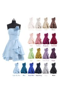 Lavender Lace Up Strapless Pleated and Hand Made Flower Quince Ball Gowns Satin Sleeveless