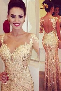 Exceptional Mermaid Gold Tulle Backless Sweetheart Long Sleeves Floor Length Ball Gown Prom Dress Lace and Appliques and Sequins
