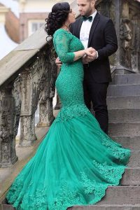 Mermaid Green Lace Up V-neck Beading and Appliques Quinceanera Gowns Tulle Long Sleeves Chapel Train