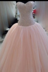 New Arrival Sequins Pink Sleeveless Tulle Zipper Quinceanera Gown for Prom