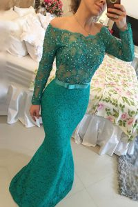 Exceptional Off the Shoulder Turquoise Mermaid Beading Vestidos de Quinceanera Side Zipper Lace Long Sleeves Floor Length
