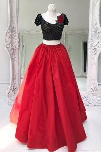 Colorful Two Pieces 15th Birthday Dress Red V-neck Organza Short Sleeves Floor Length Zipper