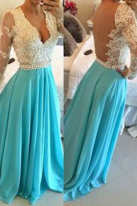 Inexpensive Baby Blue Chiffon Backless V-neck Long Sleeves Floor Length Vestidos de Quinceanera Lace