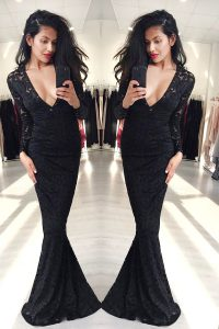Mermaid Long Sleeves Zipper Floor Length Lace Vestidos de Quinceanera