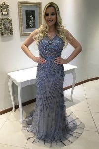 Comfortable Mermaid Blue V-neck Neckline Beading and Appliques Ball Gown Prom Dress Sleeveless Backless