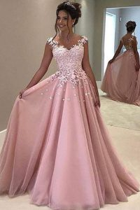 With Train A-line Sleeveless Pink Quinceanera Dress Sweep Train Zipper