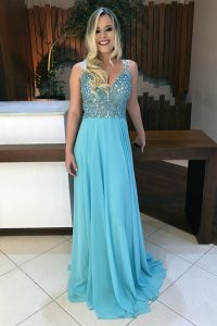 Fantastic V-neck Sleeveless Sweep Train Backless Quinceanera Gown Baby Blue Chiffon