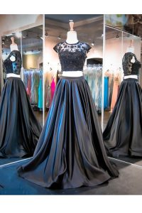 Ideal Scoop Sleeveless Taffeta With Brush Train Clasp Handle Quinceanera Gowns in Black with Lace and Ruching