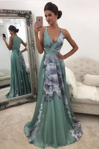 Green Chiffon and Printed Zipper Sweet 16 Quinceanera Dress Sleeveless With Train Sweep Train Pattern