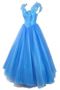 Custom Made V-neck Sleeveless Sweet 16 Dress Floor Length Ruching and Pick Ups Baby Blue Organza
