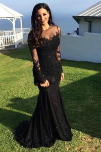 Modern Mermaid Scoop Long Sleeves Sweep Train Zipper Beading and Lace Sweet 16 Quinceanera Dress