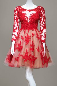 Lace Knee Length Red Quinceanera Dresses Scoop Long Sleeves Zipper