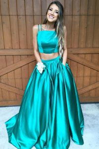 Customized Ruching Quinceanera Gowns Green Zipper Sleeveless Sweep Train