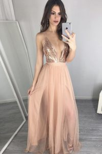 Fashion Peach Quinceanera Gowns Prom with Sequins and Pleated V-neck Sleeveless Zipper
