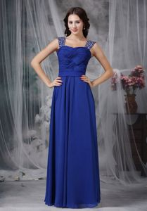 Zipper-up Royal Blue Long Graduation Ceremony Dresses with Beaded Straps