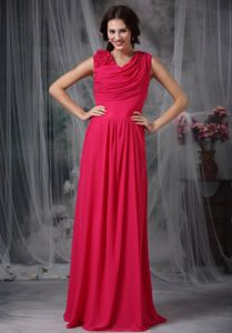 Custom Made Coral Red Long Graduation Dresses with Draped Neckline