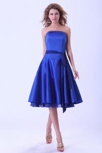 Pretty Strapless Tea-length Royal Blue Graduation Dress with Sash in Fashion