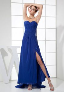 Beautiful Slitted Blue Long Graduation Dresses for Girls Watteau Train