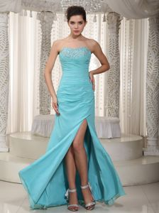Ruched Sheath Beading Decorate Split Graduation Dress in Light Blue