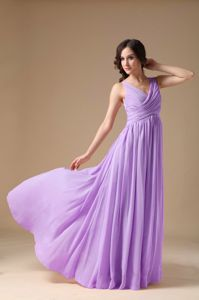 V-neck Lavender Chiffon Floor Length Graduation Dress with Ruches