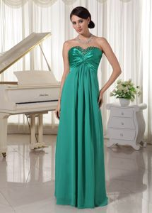 Turquoise Sweetheart Empire Floor Length Graduation Dress Beaded