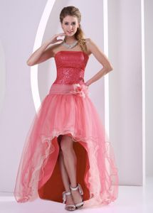 Sequins Strapless High-low Watermelon Graduation Dress with Flower