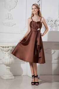 Brown A-line Spaghetti Straps Beaded Graduation Dresses for Grade 8