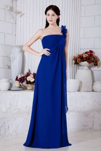 Royal Blue One Shoulder Graduation Dresses for 8th Grade Flowers Accent