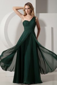 A-line One Shoulder Ruched Cute Graduation Dresses in Dark Green