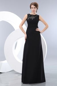 Black Column Bateau Beading Graduation Dresses for Juniors in Dadeville