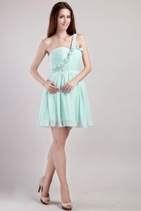 Apple Green One Shoulder Short Graduation Ceremony Dresses in Deatsville