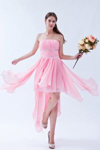 Asymmetrical Pink 5th Grade Graduation Dresses in Elba Beading Accent