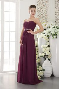 Empire Beading and Ruche Graduation Dresses for Juniors in Dark Purple