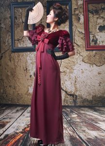 V-neck Burgundy Graduation Dresses in Alabaster 1/2 Sleeves Accent