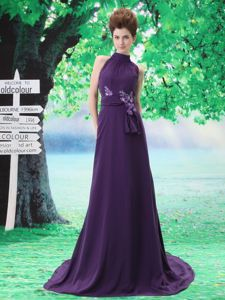 Purple High-neck Middle School Graduation Dresses with Sash and Flower