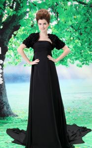 Court Train Ruche for Black Chiffon College Graduation Dress in Alpine