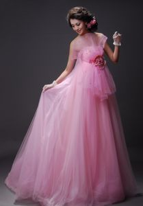Flower Decorate Baby Pink Beaded 2012 Eighth Grade Graduation Dress