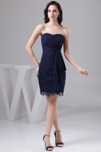 Bowknot Decorate Cheap Navy Blue Graduation Dresses in Chiffon and Lace
