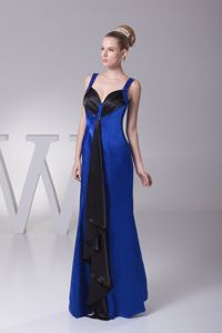 Straps Sheath Ankle-length Blue Eighth Grade Graduation Dresses with Beading