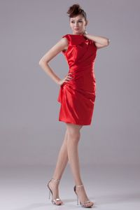 Ruched High Neck Sheath Red Graduation Dresses for Juniors in Carrollton
