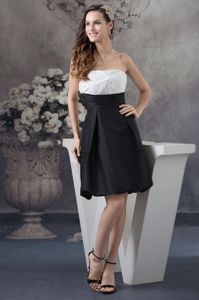 Simple White and Black Ruched Taffeta Graduation Dresses in Childersburg