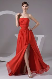 High Slit with Cutout for Rust Red Graduation Dresses for Middle School