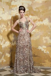 Column Halter Brush Leopard Beaded Cheap Graduation Dresses in Enterprise