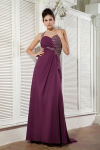 Dark Purple One Shoulder Beaded College Graduation Dress with Brush