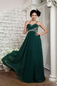 Spaghetti Straps Dark Green Empire Beaded Eighth Grade Graduation Dresses