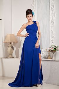 One Shoulder Royal Blue Beaded Graduation Dresses for Juniors with Bow