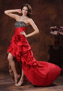 Red Leopard High-low Graduation Dress with Beaded and Flowers Bust